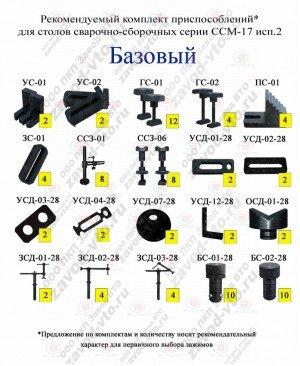 Комплект зажимов БАЗОВЫЙ для столов ССМ-17 исп.2
