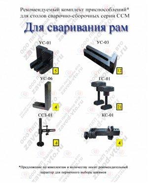 Комплект приспособлений ДЛЯ СВАРИВАНИЯ РАМ для столов серии ССМ